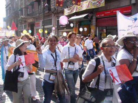 World YWCA delegation march for women and girls at the AIDS 2008 march on August 4